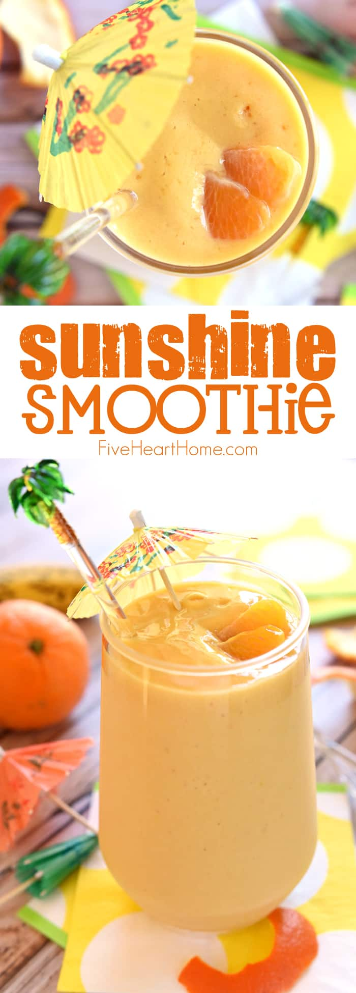 Sunshine Smoothie Collage with Text Overlay