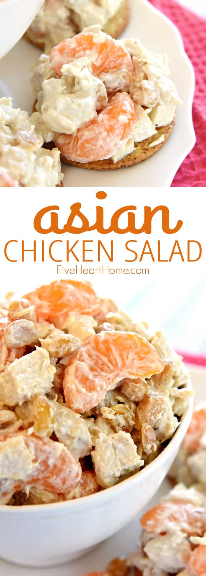 Asian spin on Sonoma Chicken Salad Collage and Text Overlay
