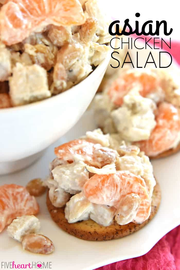 Asian Chicken Salad ~ flavored with fresh grated ginger and lightly sweetened with honey, this Asian spin on Sonoma Chicken Salad features juicy mandarin oranges and salty, crunchy peanuts | FiveHeartHome.com