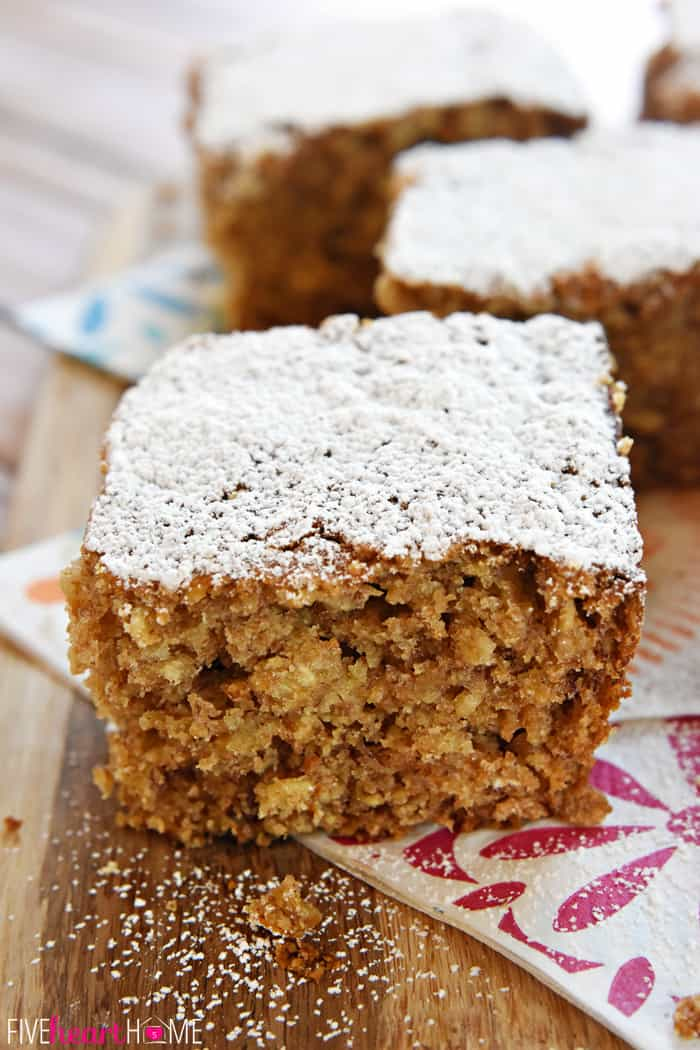 Banana Oat Snack Cake Dusted with Powdered Sugar