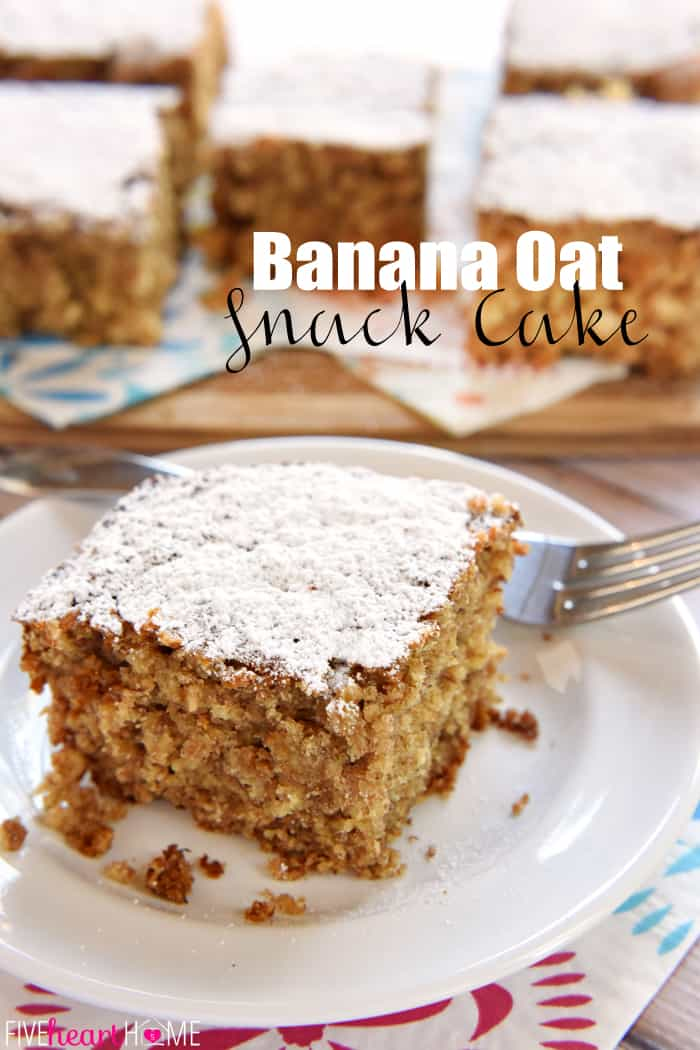 Banana Oat Snack Cake with Text Overlay