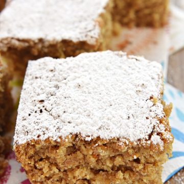Banana Oat Snack Cake ~ a moist, lightly sweet cake featuring chewy oats and whole wheat flour, making it a wholesome choice for breakfast or snack time | FiveHeartHome.com