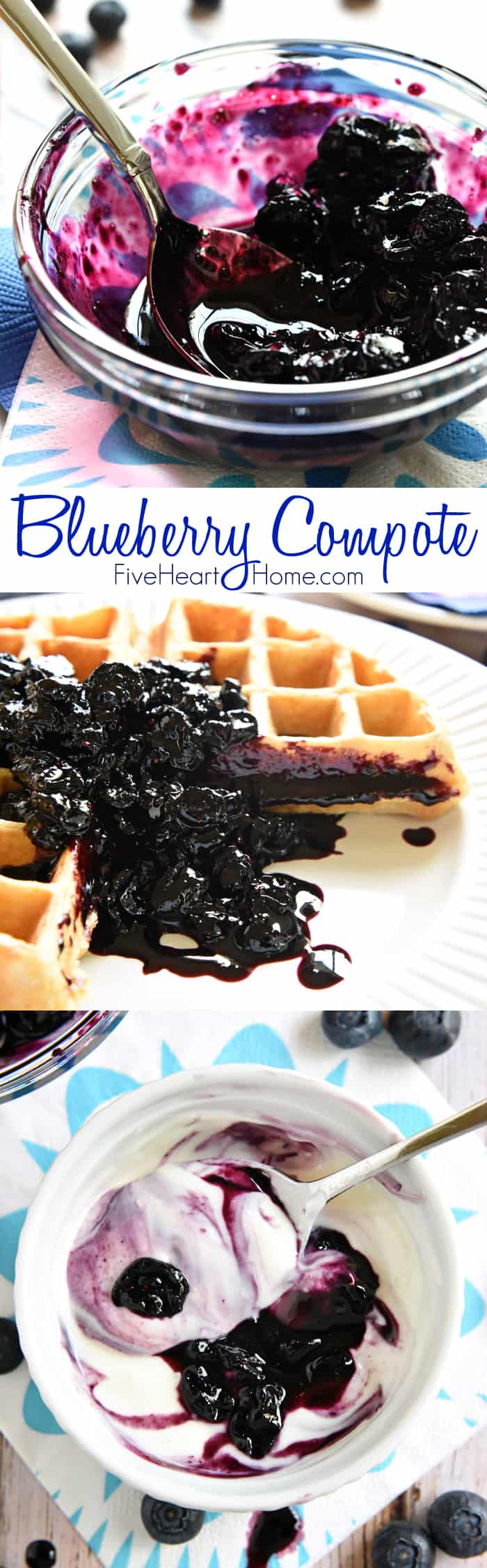 Blueberry Compote ~ frozen blueberries are cooked down into a glossy ...