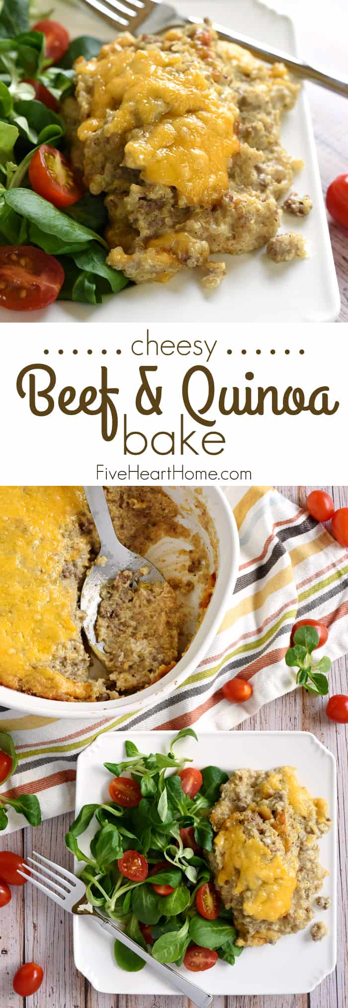 Cheesy Beef & Quinoa Bake Collage with Text Overlay