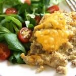 Cheesy Beef & Quinoa Bake ~ a simple, wholesome, easy-to-make casserole featuring just a handful of ingredients including ground beef, quinoa, Greek yogurt, and cheddar...perfect for picky eaters and busy weeknights! | FiveHeartHome.com