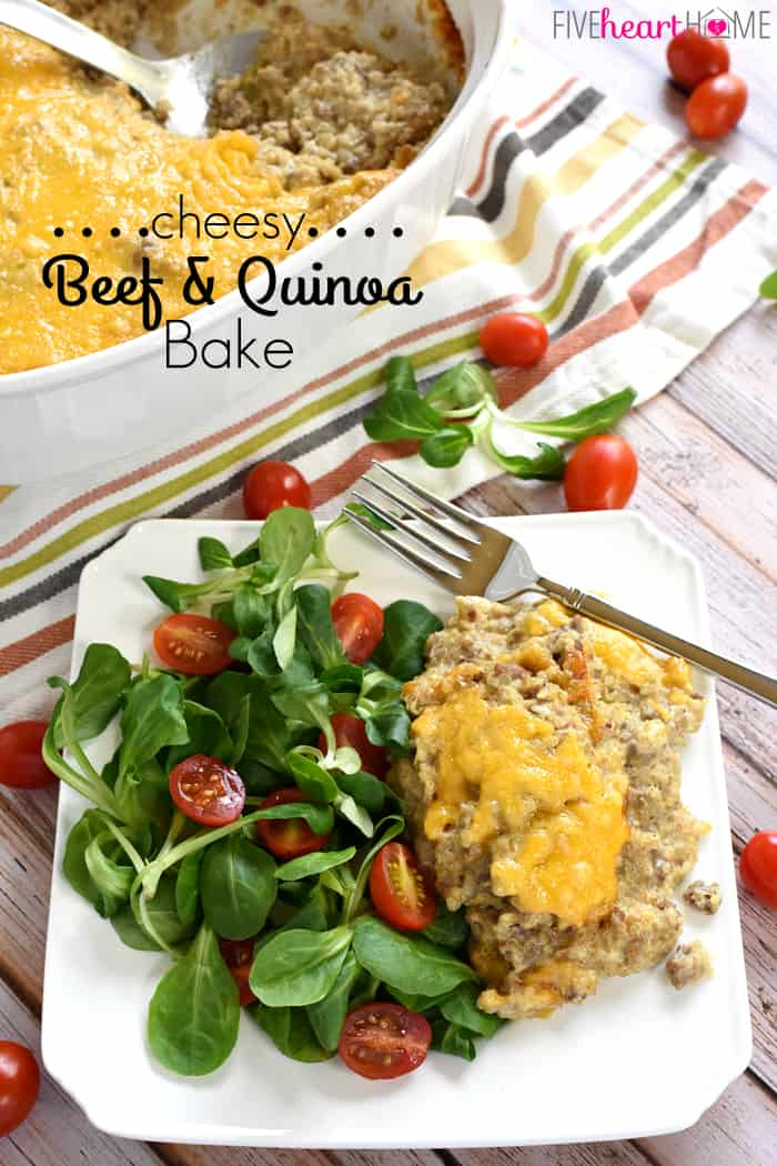 Cheesy Beef & Quinoa Bake with Text Overlay