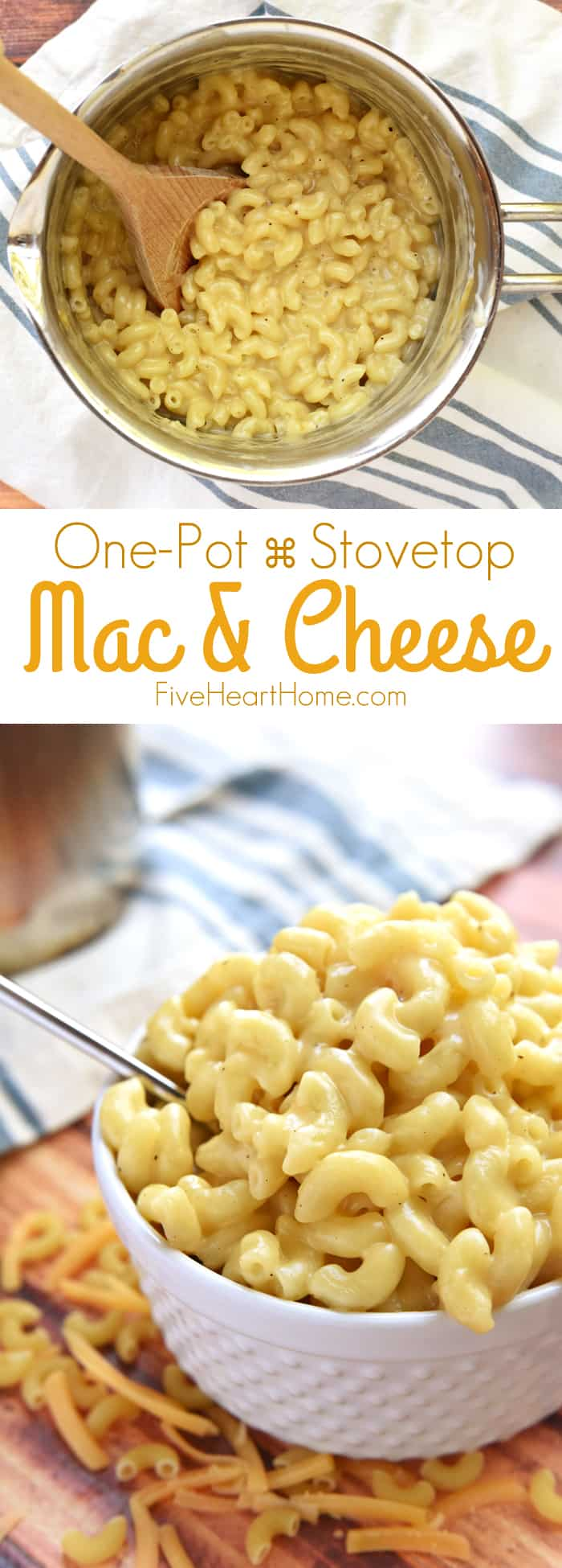 One Pot Stovetop Homemade Mac and Cheese collage with text
