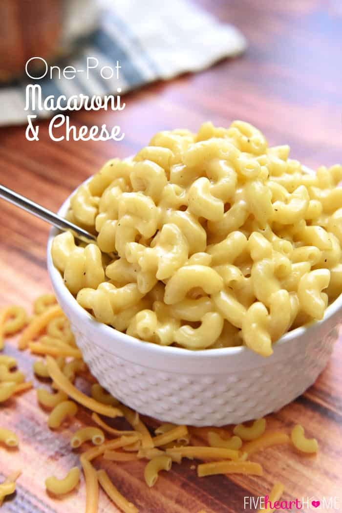 One Pot Mac and Cheese with text overlay