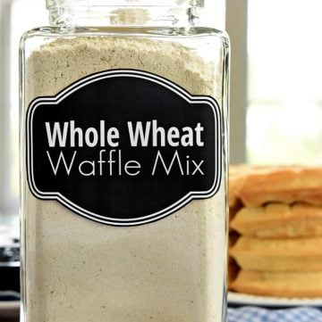 Labeled glass jar of Whole Wheat Waffle Mix