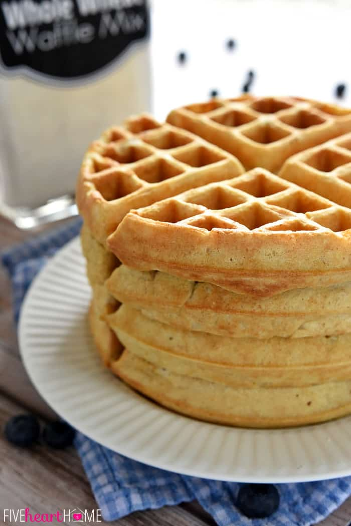 Stack of Freshly Made Waffles on White Plate