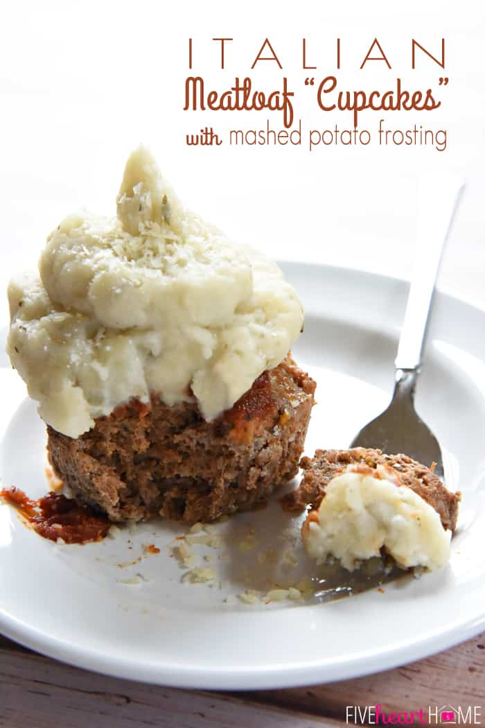 "Italian Meatloaf ""Cupcakes"" with Mashed Potato Frosting ~ savory meatloaf is flavored with Parmesan, Italian herbs, and marinara sauce, baked in a muffin pan, and then topped with seasoned mashed potatoes in these easy-to-make, fun-to-eat, mini meatloaves 