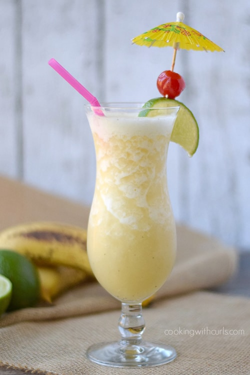 Moonlight & Mason Jars Link Party Features ~ Cocktails & Mocktails: Frozen Banana Daiquiri