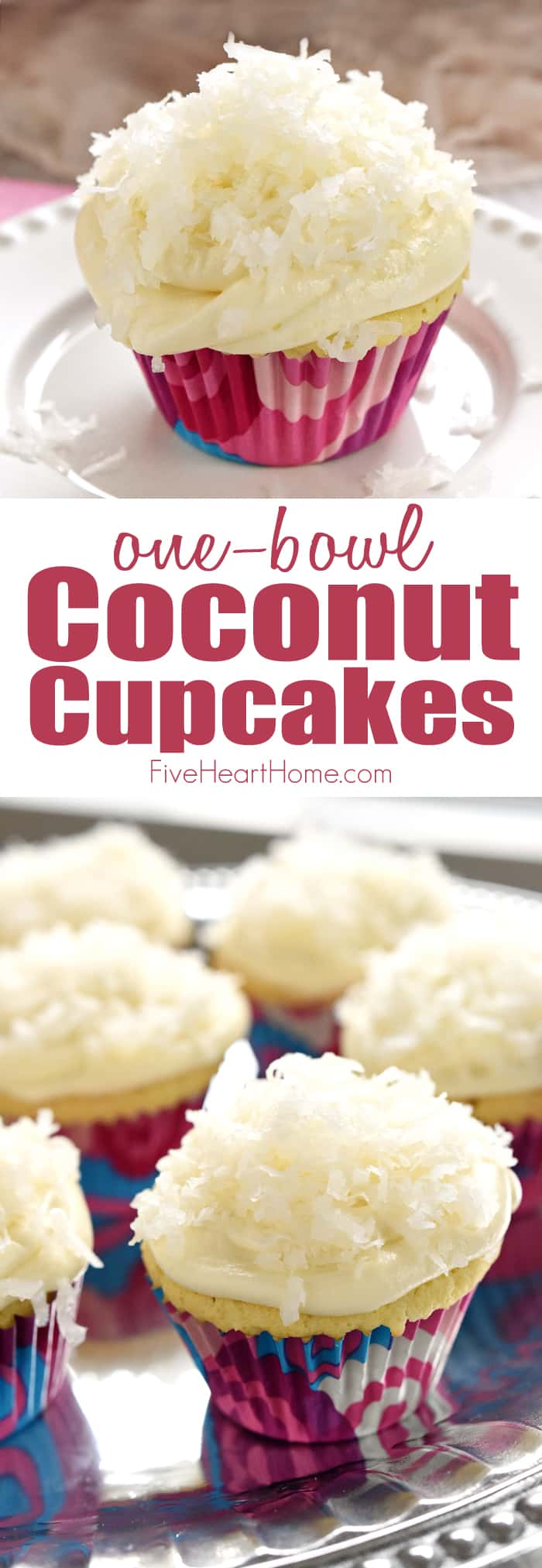 One-Bowl Coconut Cupcakes ~ these easy-to-make cupcakes are extremely moist (thanks to coconut milk) and topped with tangy cream cheese frosting and sweetened coconut flakes | FiveHeartHome.com