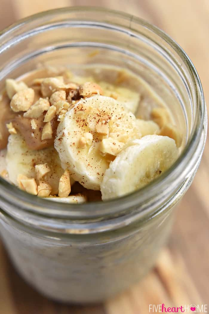 Rolled Oats, Yogurt, and Milk with Peanut Butter and Bananas