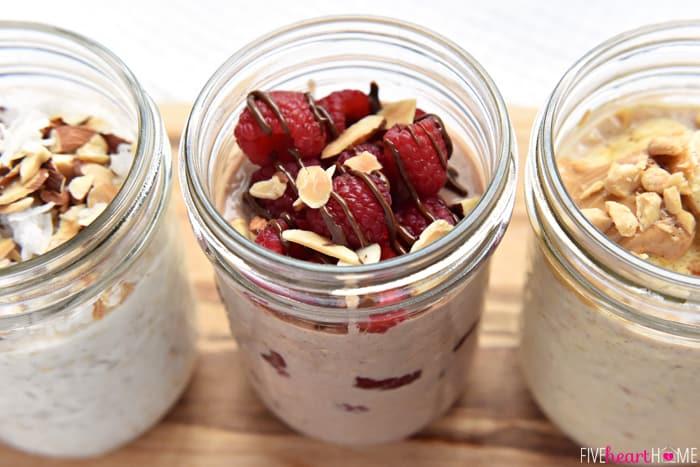 Overnight Oats, 3 Ways ~ PB Banana, Raspberry Nutella, & Coconut Almond