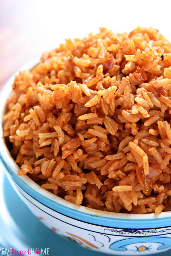 Spanish Rice recipe piled in a serving bowl.