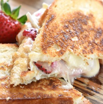 Strawberry Brie (Chocolate) Grilled Cheese ~ with fresh fruit and creamy cheese in a toasty, melty, savory-sweet sandwich, you can even add chocolate for an extra-special treat!   FiveHeartHome.com
