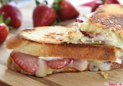 Strawberry Brie (Chocolate) Grilled Cheese ~ with fresh fruit and creamy cheese in a toasty, melty, savory-sweet sandwich, you can even add chocolate for an extra-special treat! | FiveHeartHome.com
