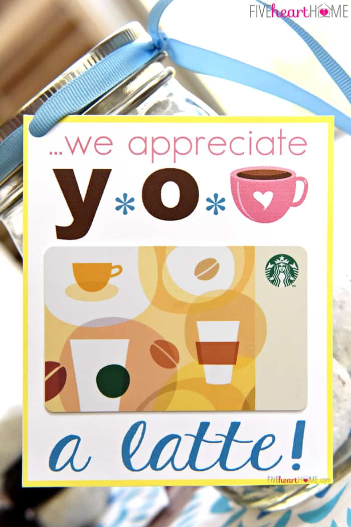 ... Appreciation ~ Donuts & Coffee Mason Jar Gift ~ Free Printables