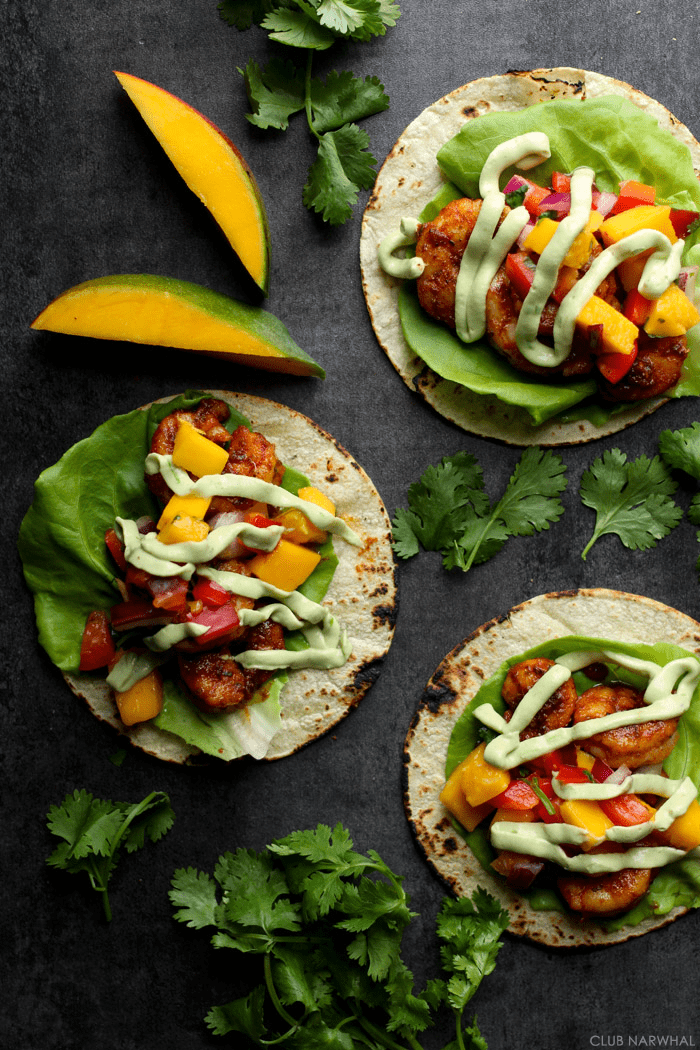 Blackened Shrimp Tacos with Avocado Crema & Mango Salsa