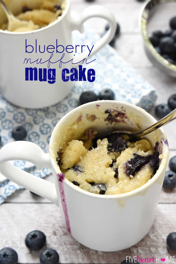 Blueberry Muffin Mug Cake with Text Overlay