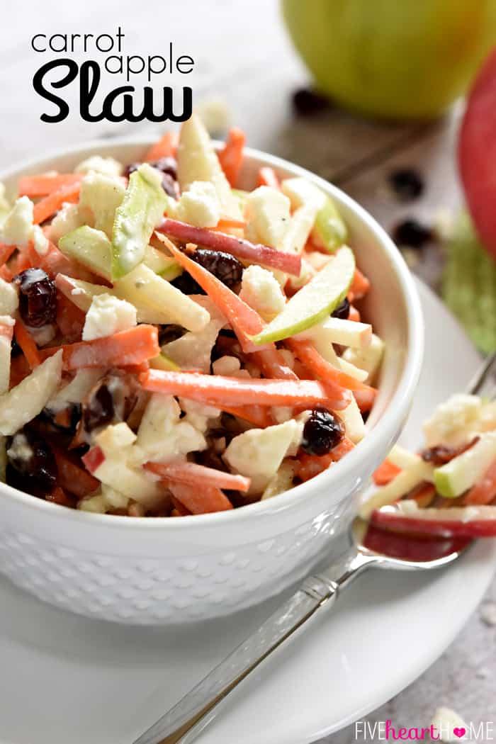 Carrot Apple Slaw Recipe Carrot Apple Salad Cranberries Feta By Five Heart Home Pxtitle