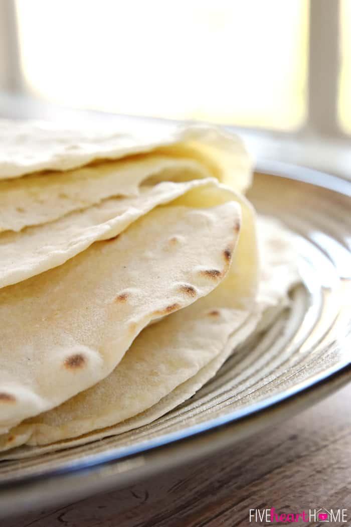 Close-up of how to make flour tortillas.