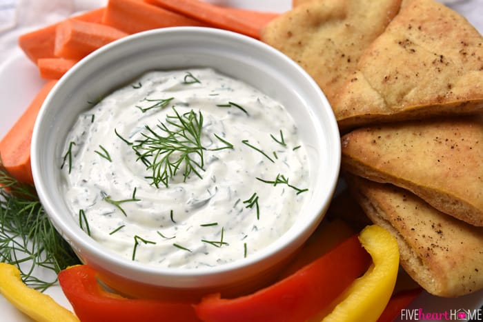 Dreamy Dill Dip with Baked Pita Wedges