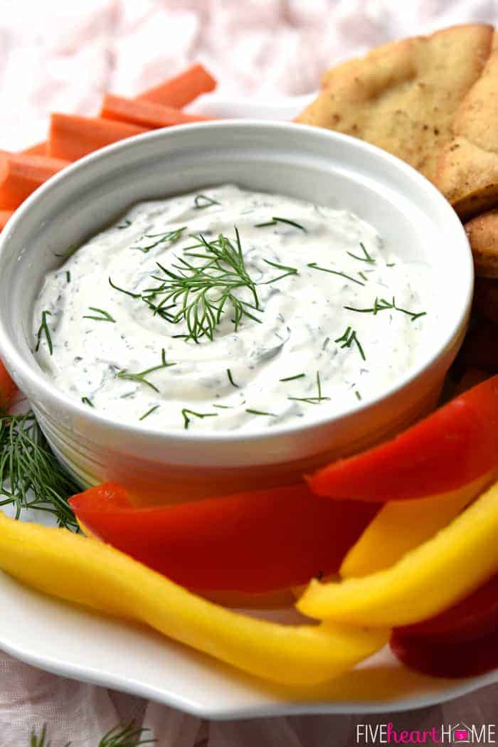 Fresh Dill Dip with Baked Pita Wedges with Fresh Veggies