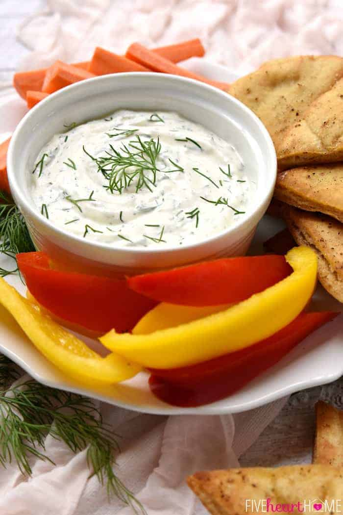 Dreamy Dill Dip with Baked Pita Wedges in a White Bowl Garnished with Fresh Dill
