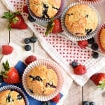 Mixed Berry Cream Cheese Muffins aerial view