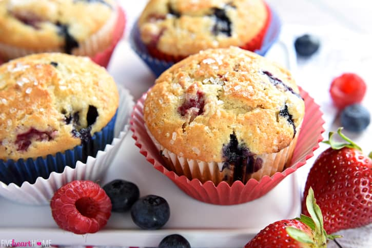 Mixed Berry Cream Cheese Muffins are bursting with fresh strawberries ...