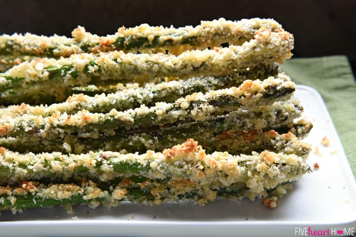 asparagus spears are coated in a mixture of grated Parmesan and panko ...