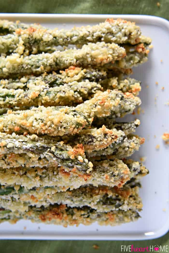 Parmesan Panko Asparagus ~ fresh asparagus spears are coated in a ...