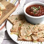 Pizza Quesadillas with Dipping Sauce ~ cheesy, melty quesadillas are stuffed with mozzarella and pepperoni and dipped in a flavorful, herb-infused, homemade pizza sauce for a fun, quick, and easy lunch idea! | FiveHeartHome.com