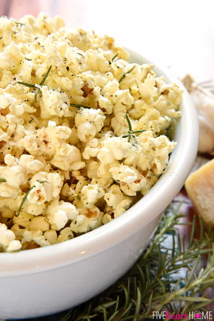 Rosemary Parmesan Popcorn in a White Bowl
