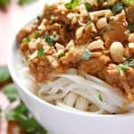 Slow Cooker Thai Chicken with Peanut Sauce over rice noodles