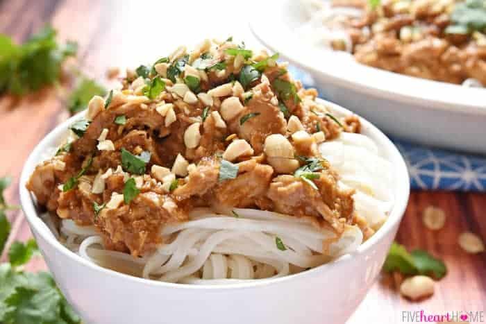 Slow Cooker Thai Chicken with Peanut Sauce features tender chicken ...