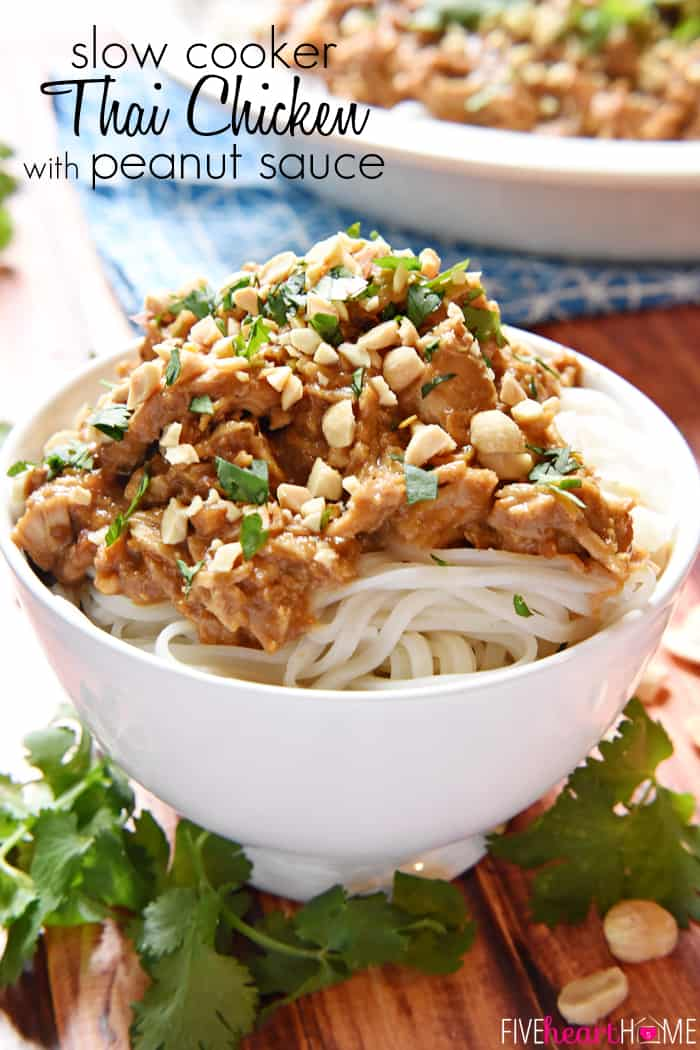 Slow Cooker Thai Peanut Chicken with text overlay