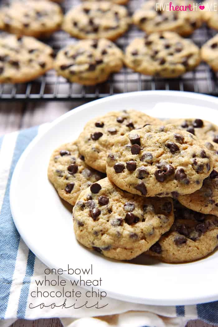 One-Bowl Whole Wheat Chocolate Chip Cookies ~ chewy, delicious, and made with 100% whole wheat flour in just one bowl, there's no need to feel guilty about enjoying an extra cookie...or three!   FiveHeartHome.com