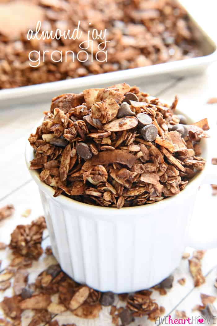 Almond Joy Granola ~ features cocoa-laced, honey-sweetened oats, toasted with coconut and sliced almonds and studded with chocolate chips for an energy-boosting snack or breakfast treat! | FiveHeartHome.com