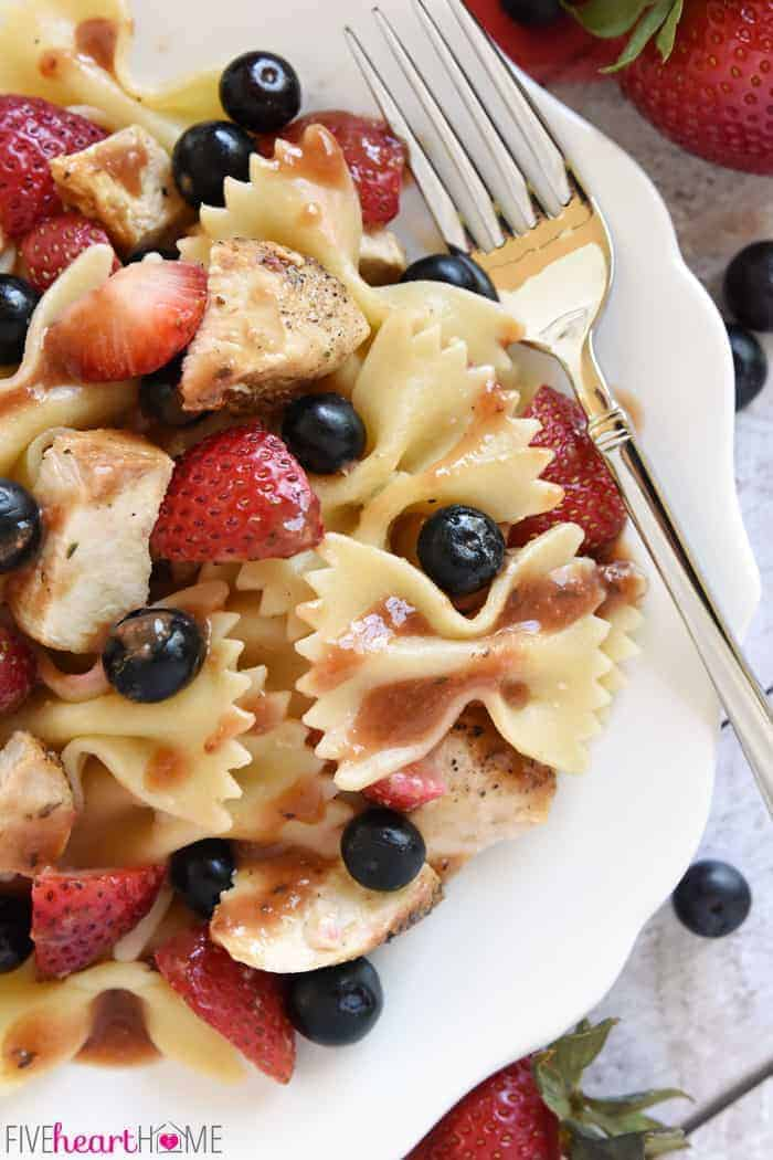 Aerial View Showcasing Blueberries, Strawberries and Bowtie Pasta