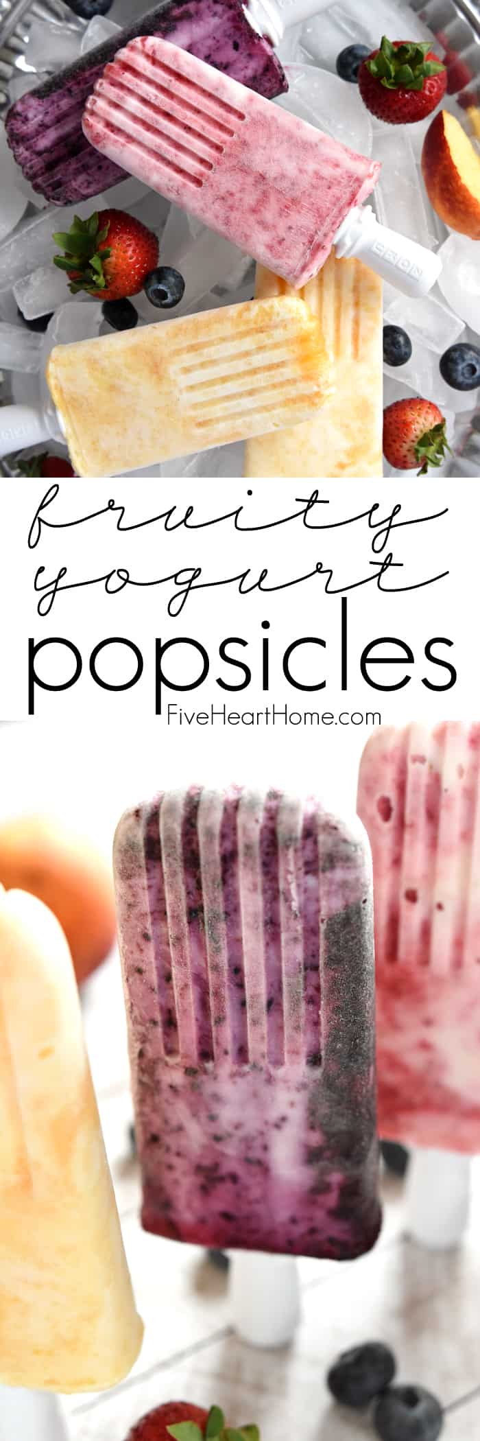 Fruity Yogurt Popsicles Collage with Text Overlay