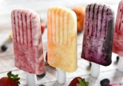 Fruity Yogurt Popsicles ~ a frosty summer treat made with just three simple ingredients...and while they're healthy enough for breakfast, they taste decadent enough for dessert! | FiveHeartHome.com