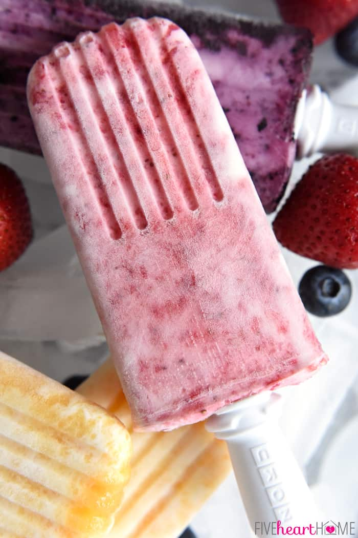 Fruity Yogurt Popsicles in Strawberry, Peach and Blueberry