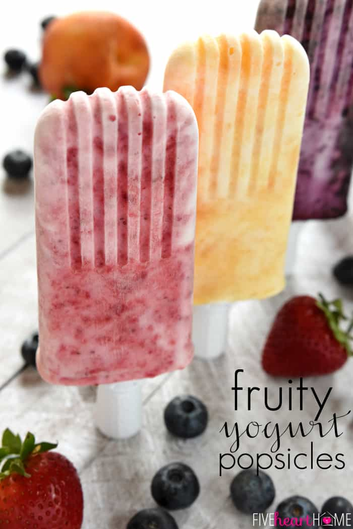 Fruity Yogurt Popsicles with Text Overlay
