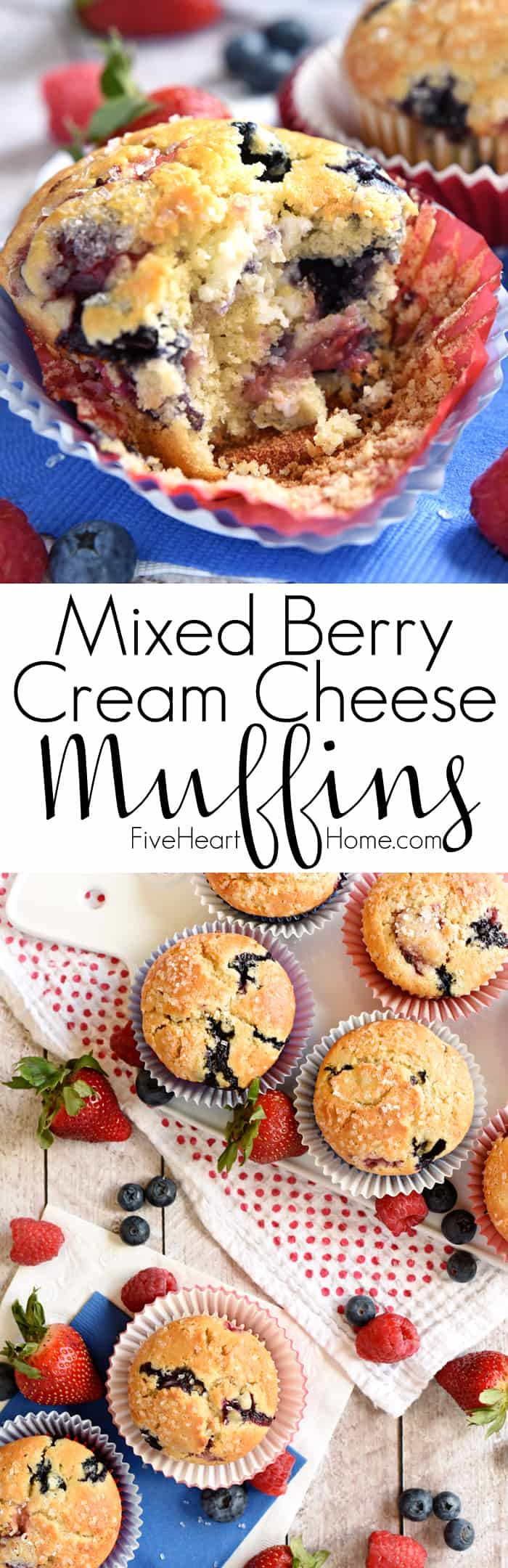 Mixed Berry Cream Cheese Muffins Collage with Text Overlay