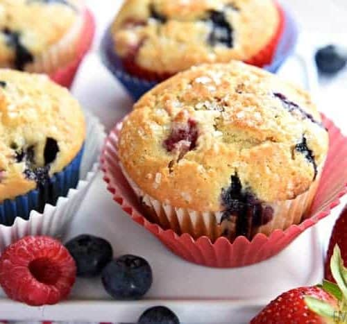 Mixed Berry Cream Cheese Muffins