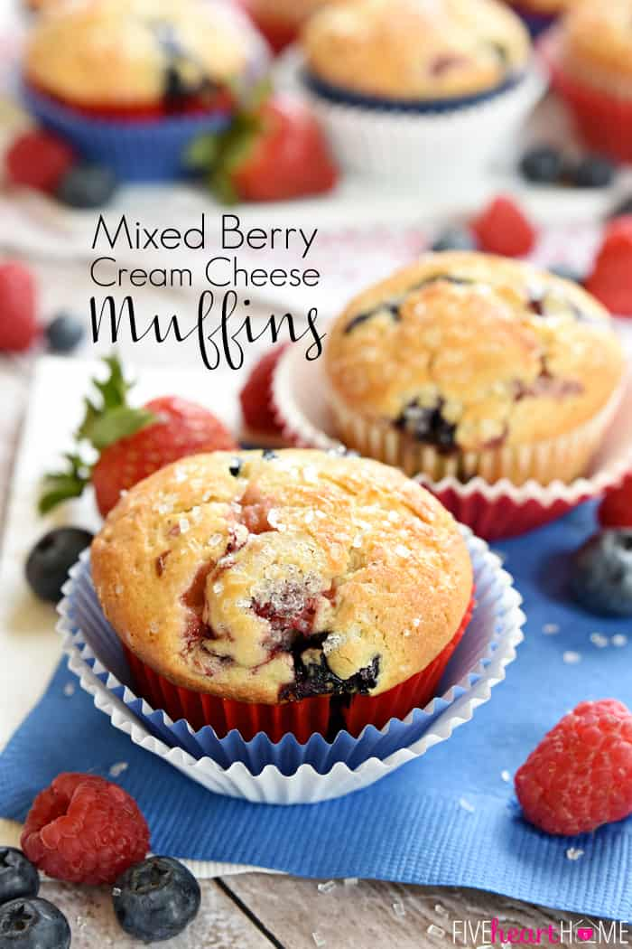 Mixed Berry Cream Cheese Muffins with text overlay.