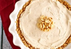 No-Bake Peanut Butter Pie ~ an easy, go-to summer dessert, this recipe requires just a few minutes of prep time and a handful of ingredients, making it a peanut butter lover's dream! | KleinworthCo.com for FiveHeartHome.com